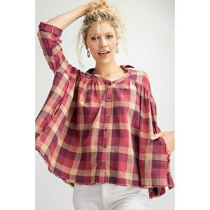 easel plaid oversized cotton shirt